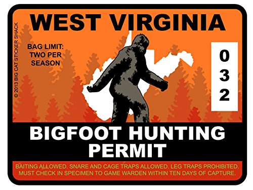 Bigfoot Hunting Permit - WEST VIRGINIA (Bumper Sticker)