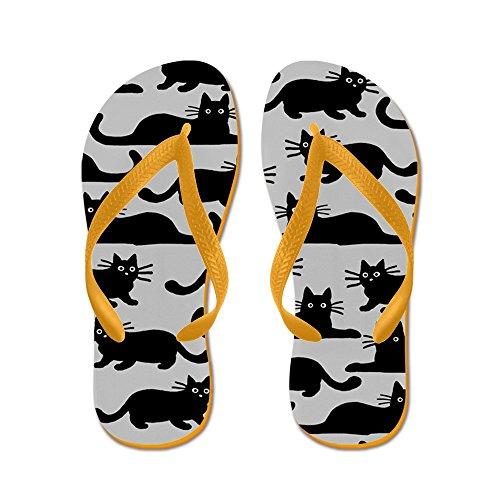 CafePress Black Cat - Flip Flops, Funny Thong Sandals, Beach Sandals Orange