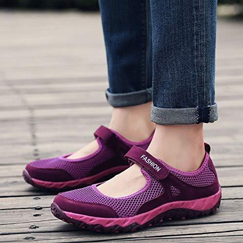 Mediana Red de Transpirables de purple Deportivos de Malla de Verano de Zapatos de Ocasionales Zapatos Hasag Mujer Tela Zapatos Mujeres Edad de Zapatos Madre Zapatos Zapatos wnnvqZP0