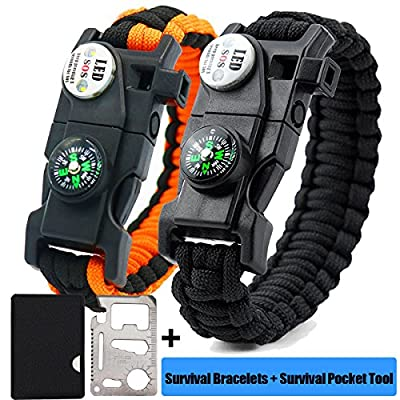 GOGOLUCK 2 Pack LED Emergency Survival Paracord Bracelets with SOS LED Light Ultimate Tactical Survival Gear with Multi Tool - Embedded Compass Fire Starter Emergency Knife Whistle Rescue Rope from GOGOLUCK