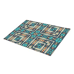 Asyouw Outdoor Rubber Mats Retro Decorative Artistic Abstract Motif Rubber Outdoor Mats One size