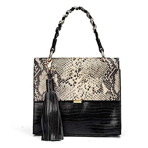 - QIWANG Fashion Lady Crocodile Pattern Shoulder Bag Handbag Crossbody Bag Personality Braided handle Adjustable shoulder strap (black)