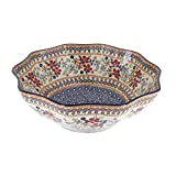Polish Pottery Red Daisy Medium Decagonal Serving Bowl