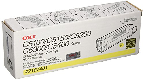 Okidata 42127401 Toner Cartridge, Laser, Type C6, 5000 Page Yield, Yellow