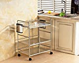 Kitchen rack / microwave oven / floor stainless steel pot rack / kitchen turret supplies storage rack ( Size : 583673CM )