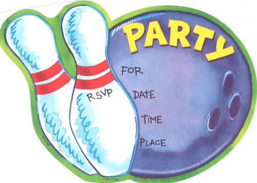 Kids Spare Invitations, Fill-In Style, 8 Pack Bowling Ball Invitations