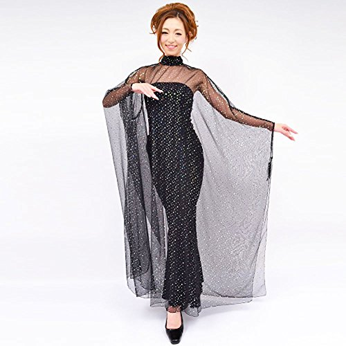 ポンチョ スパンコール 衣装 ボレロ 羽織 ケープ 長袖 マント ホワイト レッド ブルー ブラック フリーサイズ