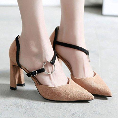 Punta Classic High Estrecha Hebilla Womens Heels Zapatos Xianshu Block Sandalias Bombas Caqui Chunky 08aFUfqw