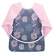 Hi Sprout Unisex Infant Toddler Baby Super Waterproof Sleeved Bib, Reusable Bib with Sleeves& Pocket, Multi Patterns, 12-24 Months,(Dream Dragonfly)