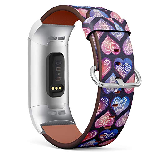 Watercolor Pattern Tile with Mandalas, Heart and Decorative Elements - Patterned Leather Wristband Strap Compatible with Fitbit Charge 3
