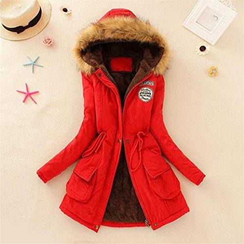 chaud Militaire parka FNKDOR capuche femme Rouge fourrure Manteau Style avec hiver EEq8xUw6