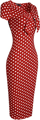 Jeansian Mujer Vestido Onda Punto Design Slim Fit De Arcos Women Bows Wave Point Design Slim Fit Dress WKD207 Red
