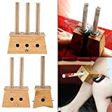 Moxa Stick Bamboo Holder Box,Moxibustion Acupoint Massage Device Tool with Free 10Pcs Pure Moxa Rolls (3 Hole)