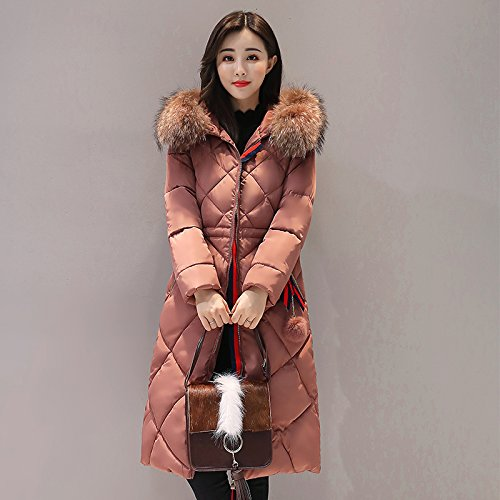 Coat Color length sleeve Pocket Medium Jacket Coffee Hat Down Thickened DYF Zipper Long L zwEq0xO
