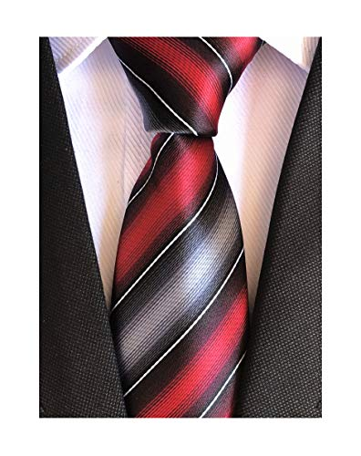 Elfeves Men's Modern Striped Patterned Formal Ties College Daily Woven Neckties (One Size, Deep Red ()
