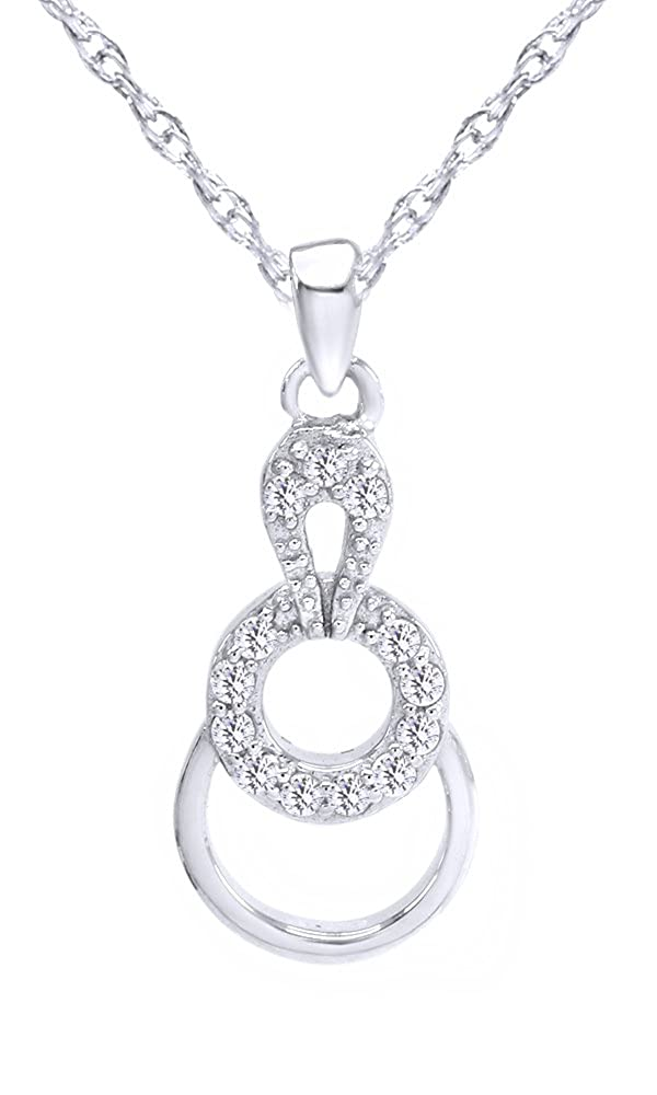 Wishrocks Round Cut White CZ Circle of Life Pendant Necklace in Sterling Silver