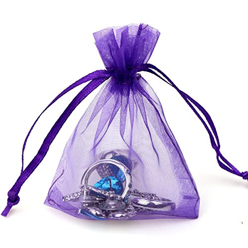 100pcs 3.6x4.8''(9x12cm) Organza Gift Bags, Drawstring Pouches Jewelry Party Wedding Favor Gift Bags,Candy Bags. (Purple)