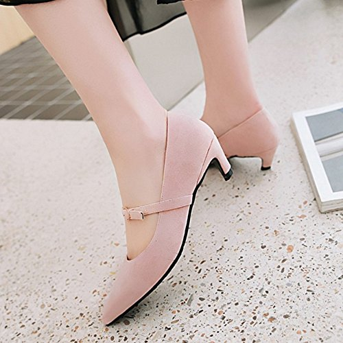 Jane with Heel Materail Marry Pointed Fashion Court Pink Shoes Nubuck and Toe SJJH Shoes Kitten x7TAfRq