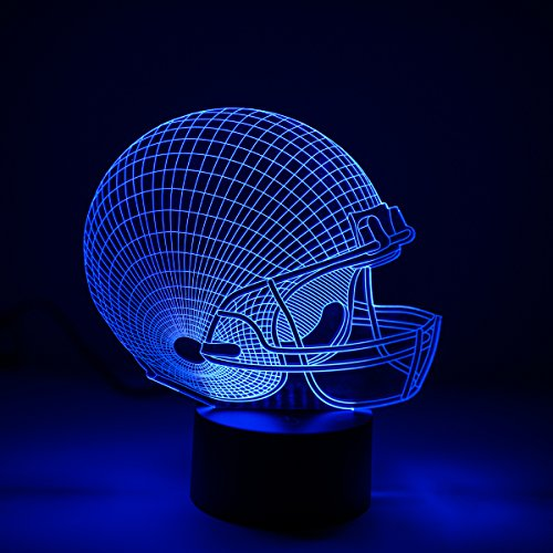 LED Night Lights for Boys Men, 3D Illusion Lamp, Football Helmet 7 Colors Changing Room Bedroom Decor Lighting, Novelty Sports Fan Gift Ideas for Kids, Adults, Friends Festival Birthday Presents