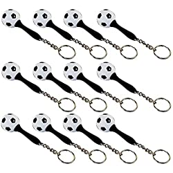 Closeoutservices Lot of 12 - Mini Maraca Soccer Ball Keyring, Rubber Handle, Stainless Chain & Ring.