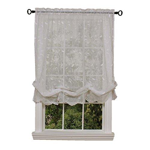 Hathaway Balloon Curtain, White, 54 x 63