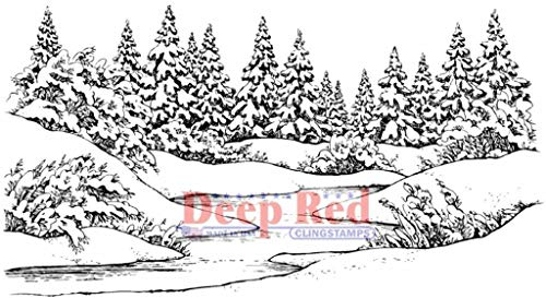 - ShopForAllYou Stamping & Embossing Cling Rubber Stamp Winter Stream Pine Trees Snow Scene