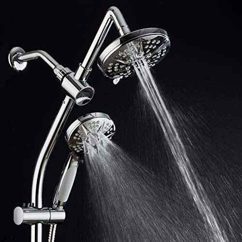 Spa Station 34'' Adjustable Drill-Free Slide Bar with 48-setting Showerhead Combo & Height Extension Arm / 3-way Rain & Handheld Shower Head/Low Reach Diverter/Stainless Steel Hose/Chrome by Hotel Spa (Image #3)
