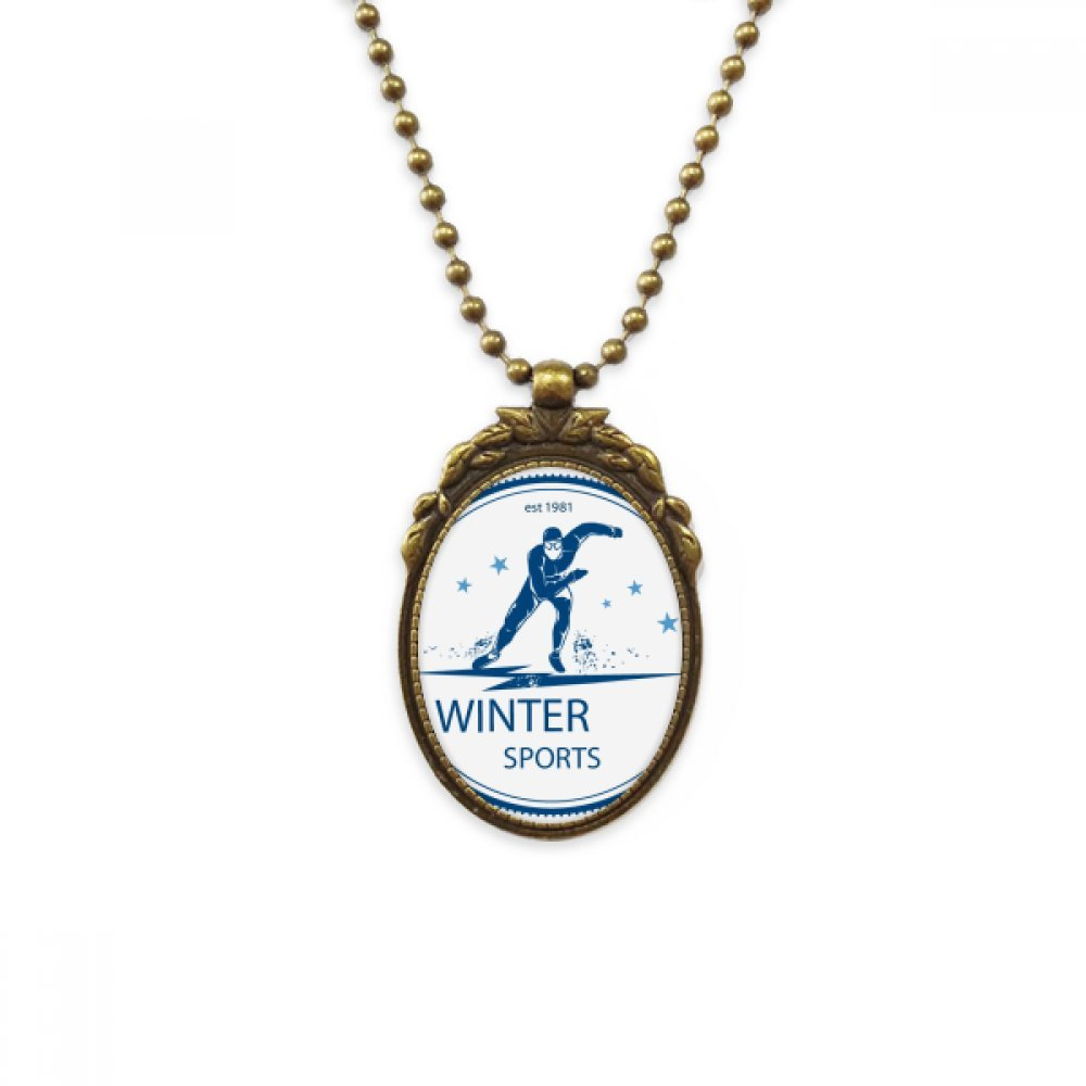 DIYthinker Winter Sport Ski Suit and Boots Pattern Antique Brass Necklace Vintage Pendant Jewelry Deluxe Gift