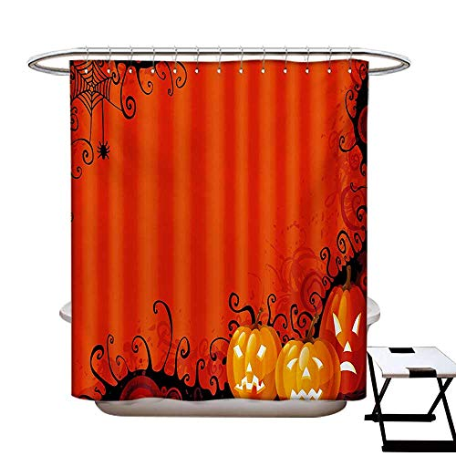 Spider Web Shower Curtains Digital Printing Three Halloween Pumpkins Abstract Black Web Pattern Trick or Treat Satin Fabric Bathroom Washable W72 x L72 Orange Marigold Black for $<!--$38.60-->