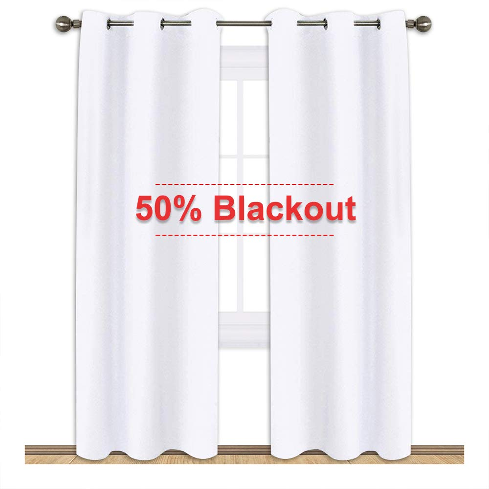 NICETOWN Wimdow Treatment Curtain Set - 50% Light Reducing Curtains for Living Room, Curtain Panels for Patio Door (2 Panels,42-Inch x 84-Inch,Pure White)