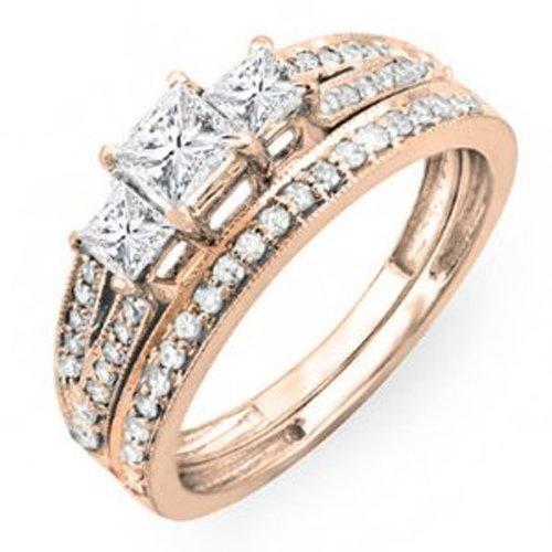 1.00 Carat (ctw) 18k Rose Gold Princess Cut 3 Stone Diamond Ladies Engagement Bridal Ring Set Matching Band 1 CT (Size 6.5)