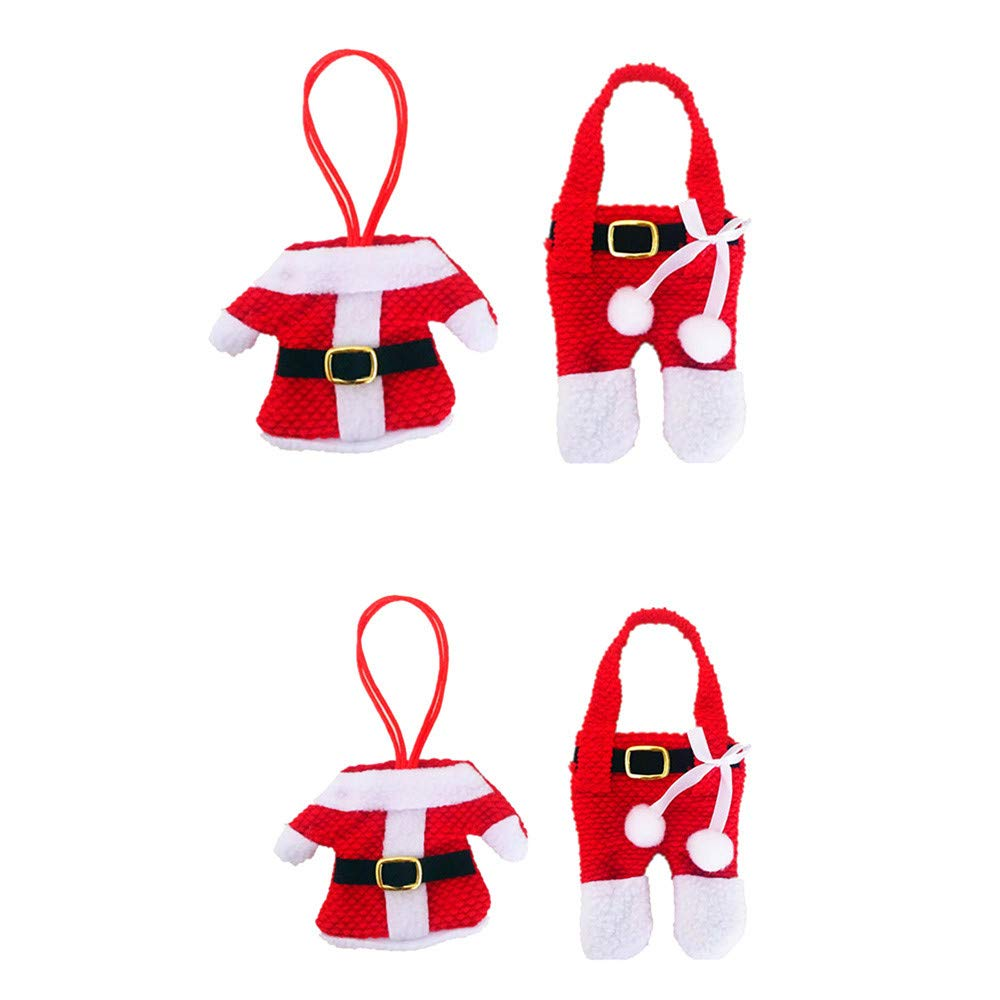 FTXJ Tableware Holder 5/2 Pairs Christmas Costume Decor Kitchen Tableware Holder Pocket Cutlery Bags (2Pairs, Red)