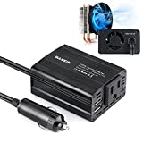 BASEIN 150W Power Inverter for Car Converter DC 12V to 110V AC Inverter with 3.1A Dual USB Charging Ports