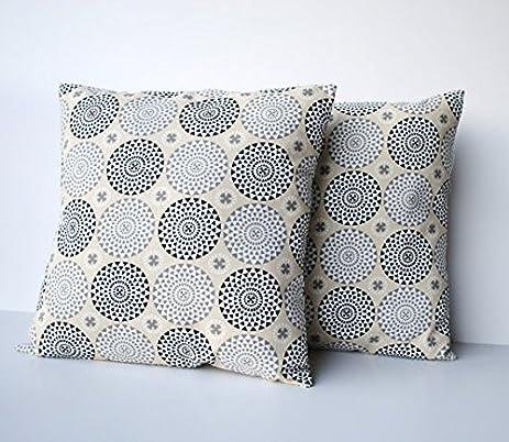 Amazon Two Black Grey Beige Medallion Pillow Cover 40 Cushion Classy Medallion Pillow Covers