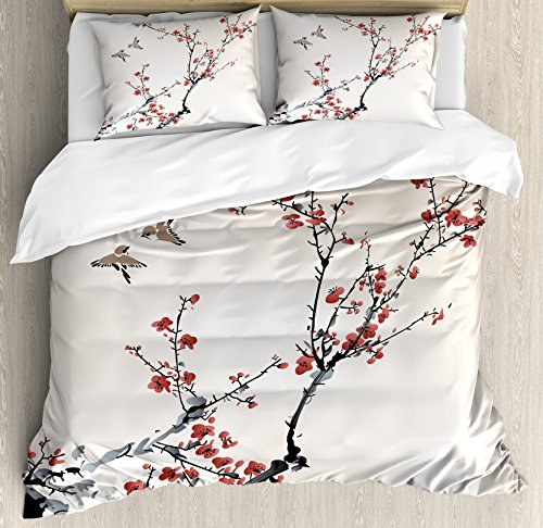 Ambesonne Nature Duvet Cover Set King Size, Cherry Branches Flowers Buds and Birds Asian Style Artwork with Painting Effect Theme, A Decorative 3 Piece Bedding Set with 2 Pillow Shams, Burgundy Black