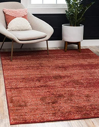 Unique Loom Del Mar Collection Contemporary Transitional Terracotta Area Rug 6 0 x 9 0