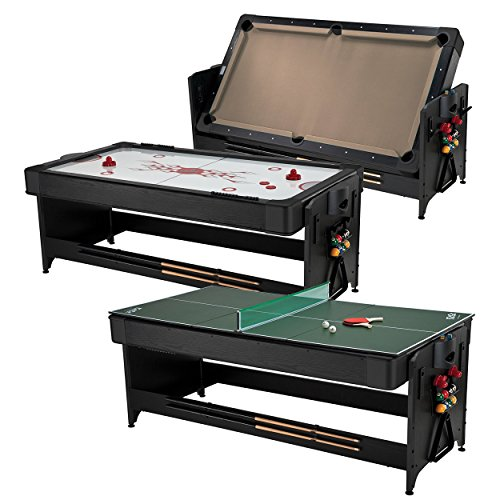 (Fat Cat Pockey 7ft Black 3-in-1 Air Hockey, Billiards with Tan Felt, and Table Tennis Table)