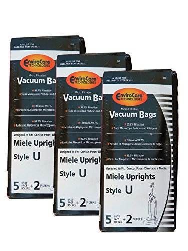 15 Miele Upright Style U Vacuum Bags + 6 Filters with Hygienic Self-closing Seal and Filters, Allervac, Upright Vacuum Cleaners, 07805130, 7282050 4002514835983, 780513000017, S7280 , S7280, S7260