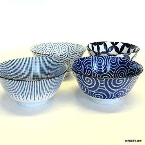 Japanese 4 pc Rice Soup Noodle Bowls Edo Indigo Textiles by kotobuki trading