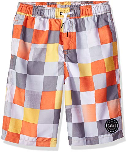 - Quiksilver Boys Resin Check Volley Youth 19 Boardshort, Tiger Orange, M/12