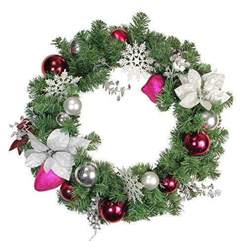Northlight Poinsettia and Eucalyptus Artificial Christmas Wreath, Purple/Silver - 24-Inch, Unlit ()