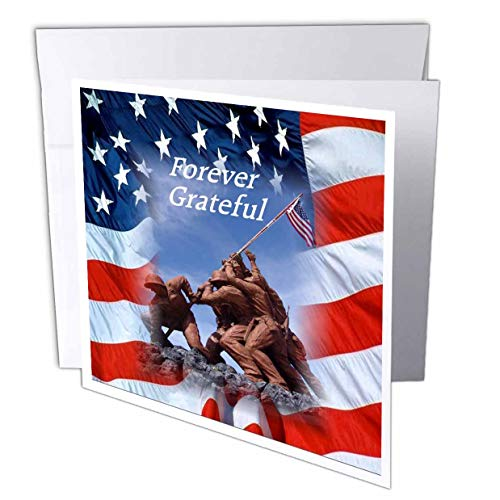 3dRose Lens Art by Florene - Memorial Day - Image of Iwo Jima Statue with Forever Grateful Over USA Flag - 1 Greeting Card with Envelope (gc_309796_5)