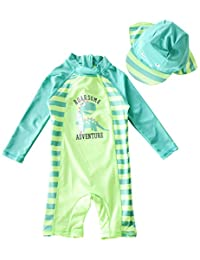 BANGELY Baby Boys Cartoon Dinosaur One-Piece Rash Guard Long Sleeve Swimsuit Swimwear