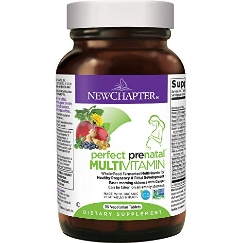New Chapter Perfect Prenatal Vitamins, 96 ct, Organic Non-GMO Ingredients - Eases Morning Sickness with Ginger, Best Prenatal Vitamins Fermented with Wholefoods for Mom & Baby