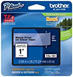 Brother Tape, 1 Inch, Black on Clear (TZe151) - Retail Packaging
