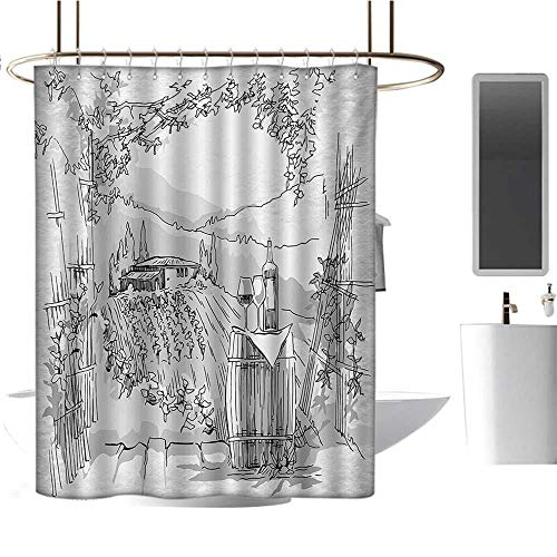 Sketchy Shower Curtains Waterproof Aerial View of Valley with House and Winery Elements Italian Mediterranean Art Satin Fabric Sets Bathroom Pale Grey Black