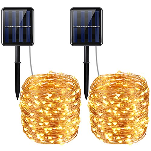 (AMIR Solar Powered String Lights, 200 LED Copper Wire Lights, 72ft 8 Modes Starry Lights, Waterproof IP65 Fairy Christmas Decorative Lights for Outdoor, Wedding, Homes, Party, Halloween (Warm)