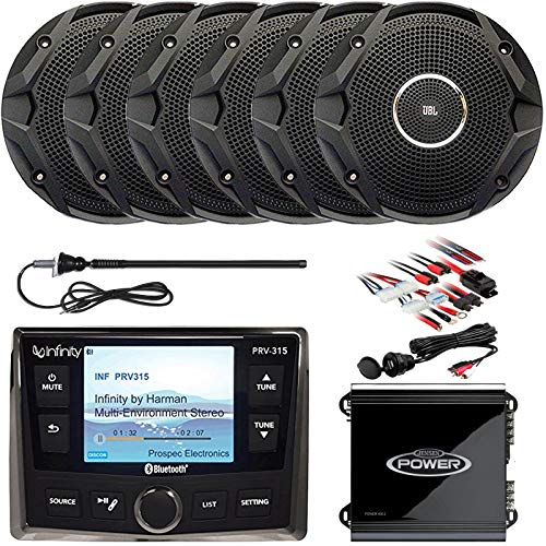 (Infinity Marine AM/FM Bluetooth USB Full Color Display Receiver, 6 x 6.5 Dual Cone Stereo Speakers (Black, Bulk Packaging), 2-Channel Amp, Antenna, Amp Kit, AUX Interface)