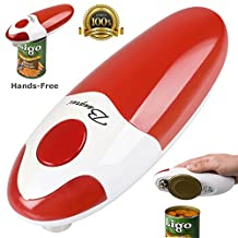 BangRui Smooth Soft Edge Electric Can Opener with One-Button Start and One-Button Manual Stop(Red)