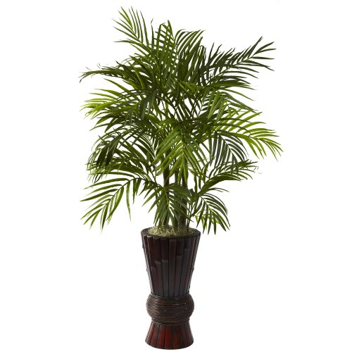Nearly Natural 6723 4-Feet Areca with Bamboo Planter, Green by Nearly Natural